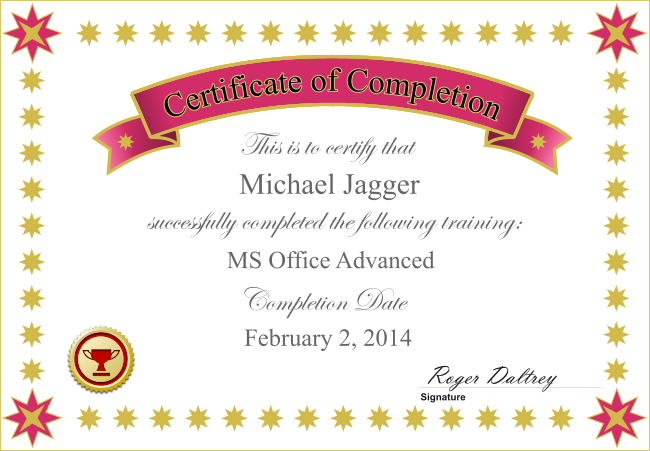 Certificate of Completion from the LMS