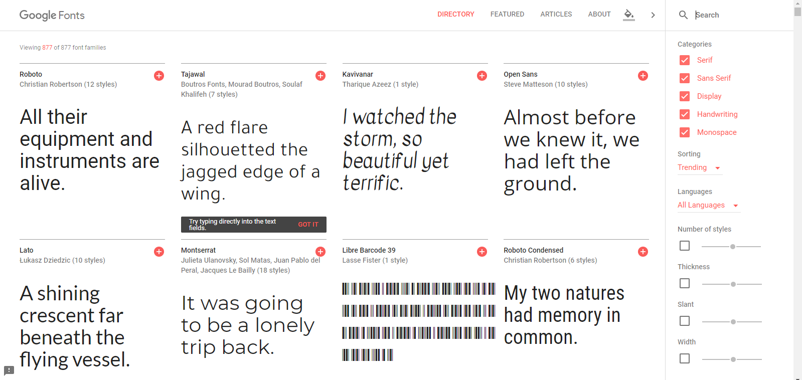 screen capture of google fonts