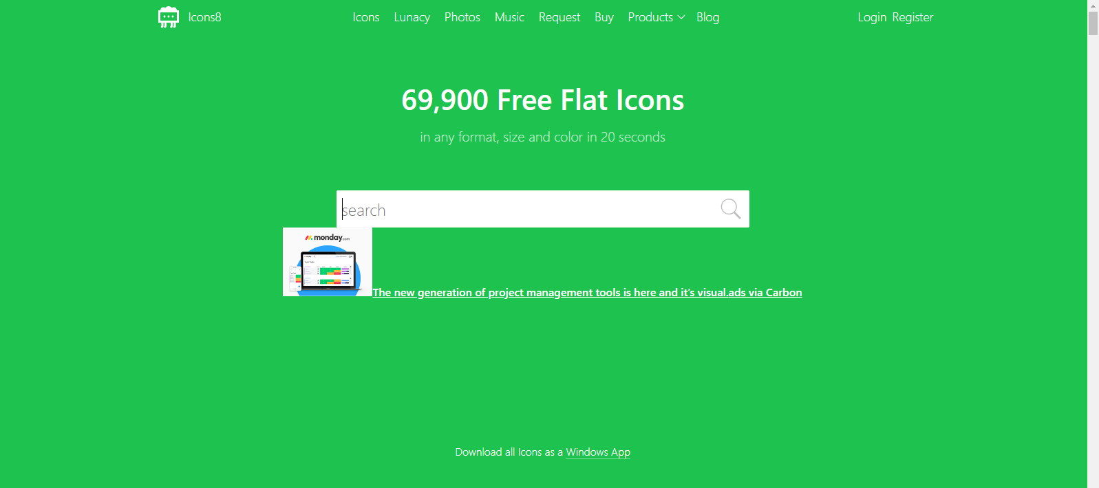Screen capture of icons8.com